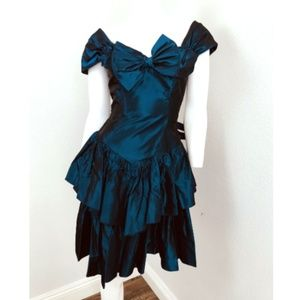 Vintage JUDY'S Dress Sz 5 Blue Taffeta Prom Dress